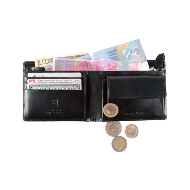 Swiss Military - Leder-Geldbörse - schwarz