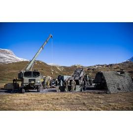 Logistik Versorgungsplatz im Gebirge