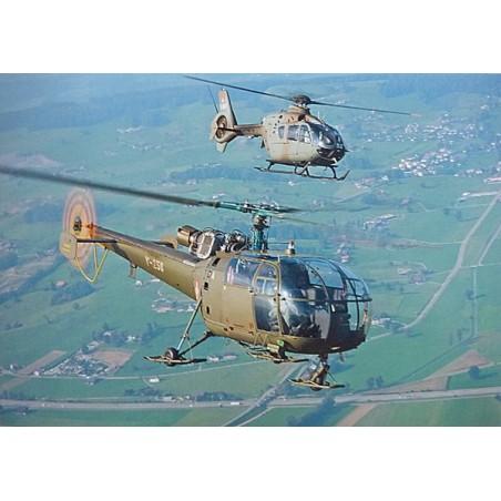 Postkarte: Alouette 3 und Eurocopter EC635