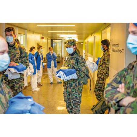 Sanitätskompanie im Corona Armee-Einsatz in Zivilspital