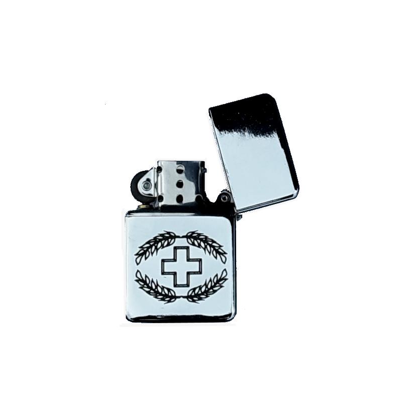 Sturmfeuerzeug mit Armee-Logo - blank