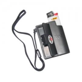 PAT Feuerzeug mit Aschenbecher - schwarz